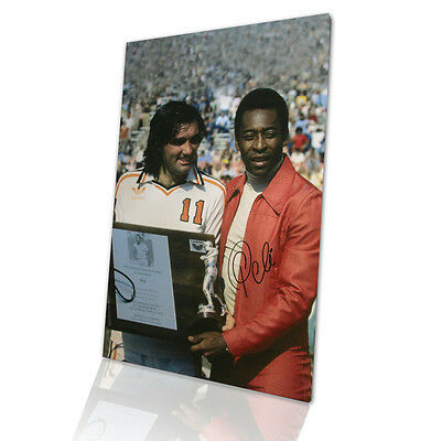 Framed Pele signed canvas - Pele and George Best Autograph