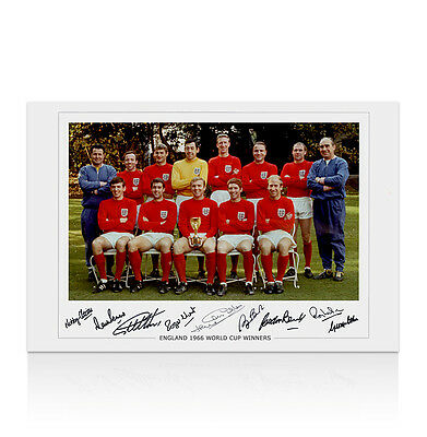 1966 England World Cup Winning Team Signed Photo - Autographed By 9