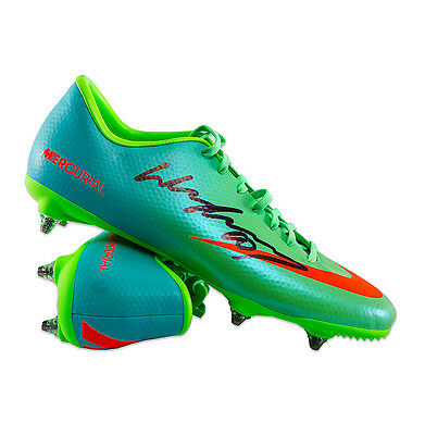 Wayne Rooney Signed Autograph Football Boot - Nike Mercurial Green Studded