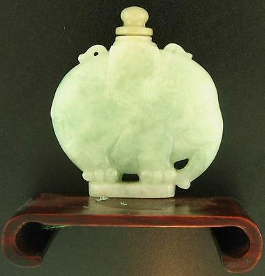 Natural Carved Light Green Jadeite Jade Snuff Bottle Statuary w/ Screw Stopper