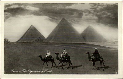 Egypt Giza Pyramids & Men on Camels Real Photo Postcard