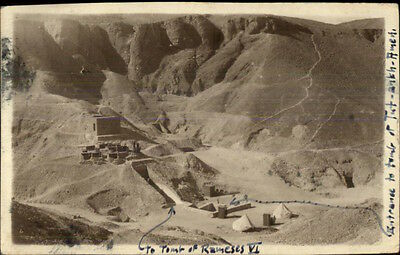 Cairo Egypt Site of Tomb of Rameses VI Real Photo Postcard