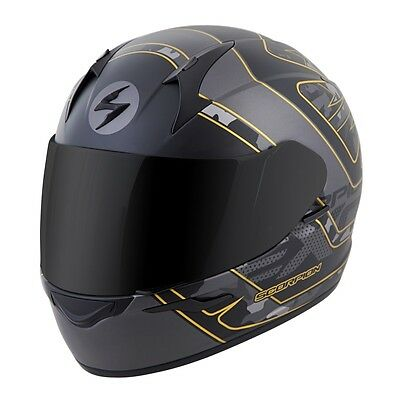 Scorpion EXO-R410 Full Face Helmet Convoy Graphic Black Gold Free Size Exchanges