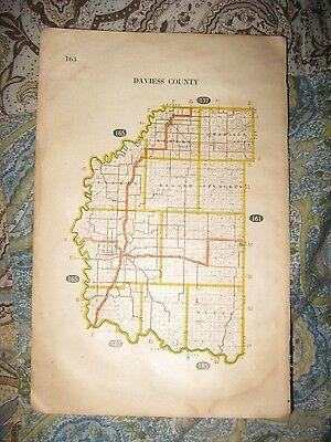 Antique 1917 Daviess Martin County Indiana Highway Road Railroad Map Shoals Nr