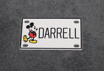 Vintage Walt Disney Prod. Mickey Mouse Name Darrell Plastic License Plate