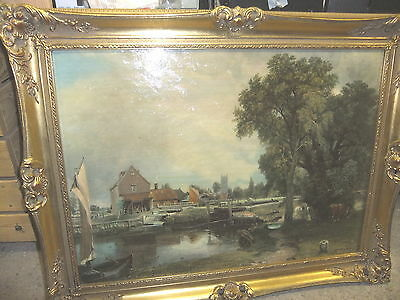 Picture JOHN CONSTABLE print, brushed finish in gilt frame 84x64cm water mill