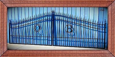 Wrought Iron Driveway Entry Gate 18ft Wide.  Double Swing Driveway Gate