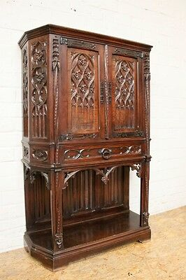 1111038 : Antique French Gothic Cabinet Carved Panels Solid Walnut