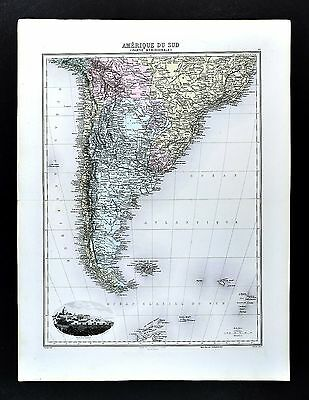 1880 Migeon Map South America Argentina Chile Urugay Bolivia Brazil Buenos Aires