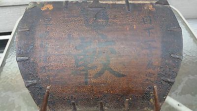 Antique vtg Chinese Wooden Rice Measuring Bucket/Basket with Lettering