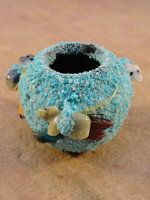 Small Hand Built Zuni Turquoise Encrusted Fetish Pot