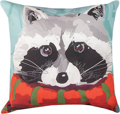 "Woodland Raccoon Christmas Holiday Indoor/Outdoor 18"" Toss Pillow ~ Climaweave"