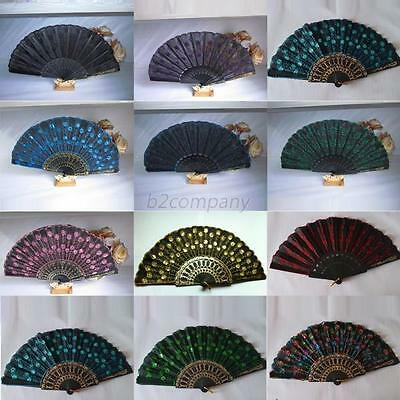 Fabric Folding Hand Held Fan Embroidered Sequin Party Bridal Decor Classic Retro