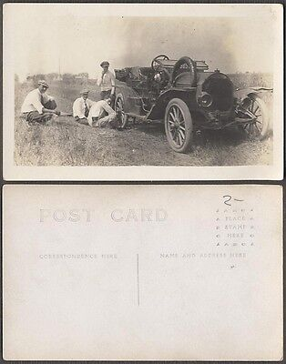 Vintage Car Photo Postcard Men w/ Mystery Automobile on Roadside 691359