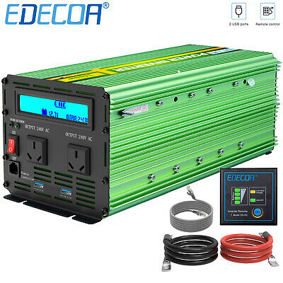 EDECOA Power Inverter 3000W 6000W 12V - 240V Camping Boat Caravan with LCD cable