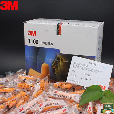 3M 1100 Disposable Ear Plugs Earplug Memory Foam Noise Reducer FREE Carry Case
