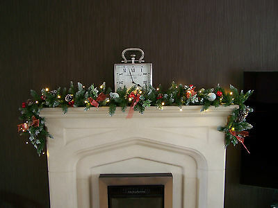 Luxury 1.8m Extra Thick Christmas Garland Swag w Red Toadstools bows Apples 6ft