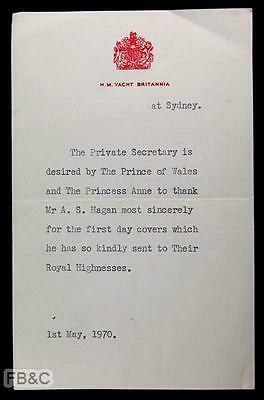 1970 Letter From HM Yacht Britannia at Sydney