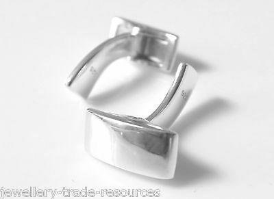 1 Pair Sterling Silver Cufflink Fitting Cuff Link Swivel Backs Square Whale Tail