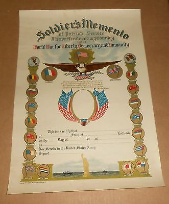 U.S. Army 1917 Soldier's Memento Patriotic Service World War for Liberty Poster