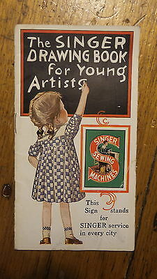 1928 Antique SINGER DRAWING BOOK FOR YOUNG ARTISTS Singer 20 Sewing Machine