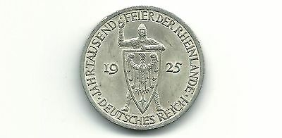 Germany Weimar Republic 1925A 3 Reichsmark  Silver Coin