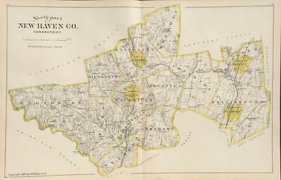 Antique Map North Part New Haven County Connecticut Hurd 1893