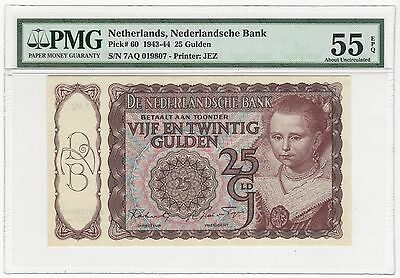 1943-44 (1944) Netherlands 25 Gulden Bank Note Bill - Pick# 60 - PMG AU 55 EPQ