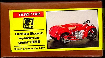 Hauler Models 1/87 1928 INDIAN SCOUT MOTORCYCLE WITH SIDECAR