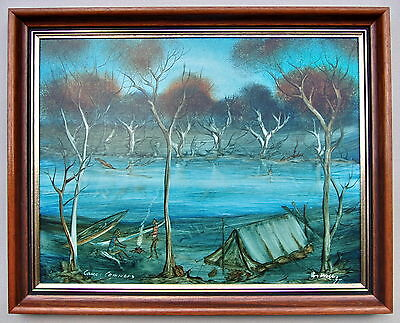 Ron Willis 77 Canoe campers Framed Oil painting