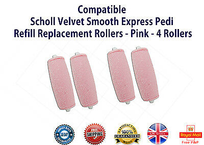 Four (4) Compatible Scholl Velvet Smooth Express Pedi Refill Replacement Rollers