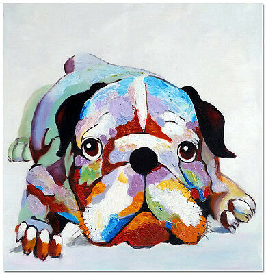 """Bulldog - Hand Painted Impressionist Dog Oil Painting On Canvas Wall Art 20x20"""""""