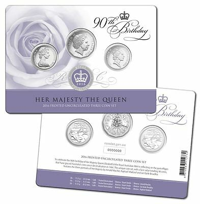 2016 Royal Australian Mint Queen Elizabeth II 90th Birthday 3 Coin Set