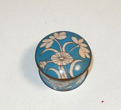 Rare Old Chinese Bronze Cloisonne Blue Enamel Floral Opium Jar Box