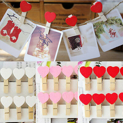 10/20/50 Mini Wooden White Love Heart Pegs Photo Paper Clips Wedding Decor Craft