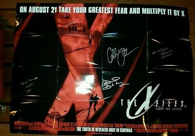 *SIGNED x4 The X-Files British Quad Fight the Future Movie Poster 1998 Duchovny