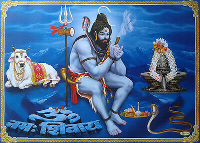 Big Size POSTER * LORD SHIVA Relaxing at Kailash, Nandi, Shivling (Size: 20x28)