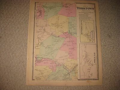 Antique 1867 Yorktown Crompond Shrub Oak Westchester County New York Handclr Map