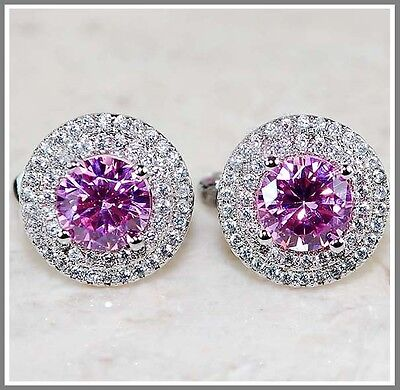3CT Pink Sapphire & White Topaz 925 Solid Genuine Sterling Silver Earrings