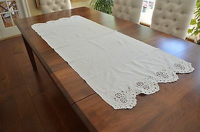 Antique Long Buffet Runner Hand Worked Eyelet Lace Scalloped Edges 24 X 66 Inch
