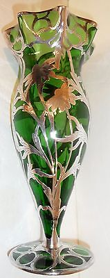 Antique Sterling silver overlay Very tall Vase, Alvin, Gorham