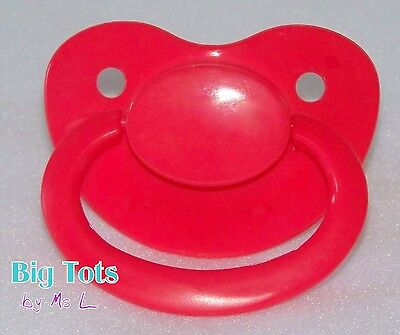 Adult Baby *NEW* BRIGHT RED  Large silicone pacifier(NUK 6 ?) * Big Tots**