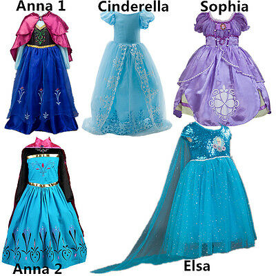 Kids Girl Frozen Princess Anna Elsa Cinderella Sofia Halloween Party Dress 2-9T