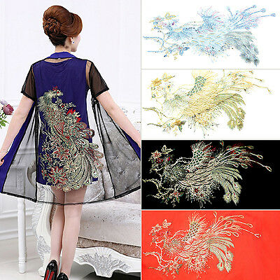 Lace Embroidered Long Sequins Peacock Sewing Applique Trim DIY Craft