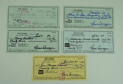 Lot of (5) Gene Sarazen Signed Cancelled Bank Check Masters Champ. Autographed