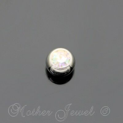 4mm Aurora Crystal Surgical Steel Helix Septum Replacement Spare 14g Ball