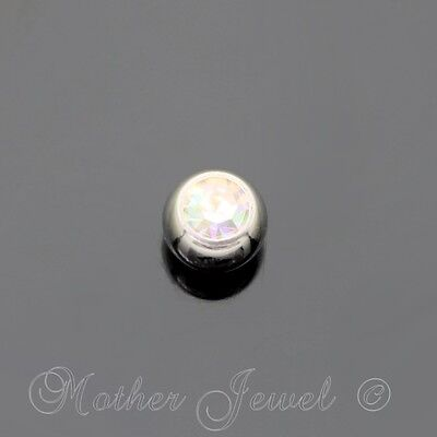 6mm Aurora Crystal Surgical Steel Helix Septum Replacement Spare 14g Ball