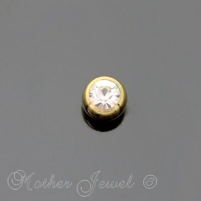3mm Crystal Yellow Gold IP Titanium Labret Helix Replacement Spare 14g Ball