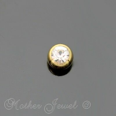 4mm Crystal Yellow Gold IP Titanium Labret Helix Replacement Spare 14g Ball