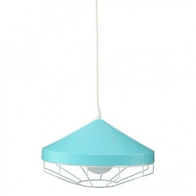 "Paris Prix - Lampe Suspension Métal ""Smile"" 34cm Bleu"